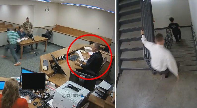 재판 중에 피고인 도주하자 직접 뛰어가 붙잡은 판사