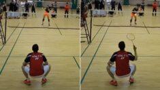 아마추어 '풀스매시'를 쭈그려 앉아서 받아내는 배드민턴 국가대표 선수 클라스 (영상)