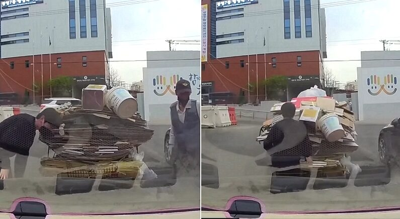 폐지 줍는 리어카에 충돌 사고당한 자동차 운전자 반응 (영상)