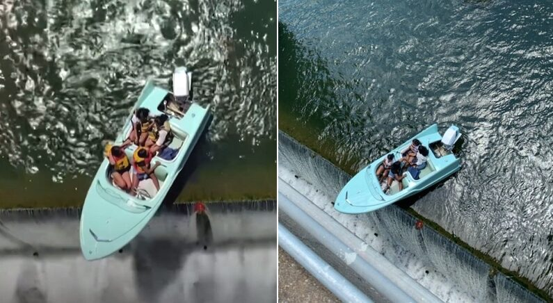 """""""평생 운 다 썼다"""" 댐 끝에 걸려 추락 일보 직전 구조대에 발견된 관광객들"""