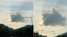 """""""소원 빌고 가세요"""" 어제(13일)자 울산 하늘에 뜬 '따봉' 구름"""