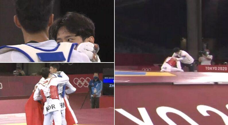 자기 이기고 메달 딴 상대 선수 웃으면서 축하해주고 자리로 돌아간 한국 선수의 '뒷모습'