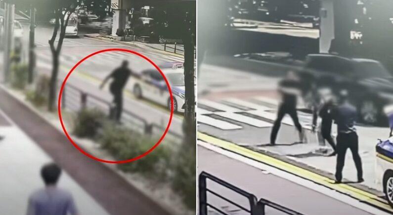 막아서는 경찰이 오히려 위험해 보였던 성남 서비스센터 흉기범 검거 장면 (영상)